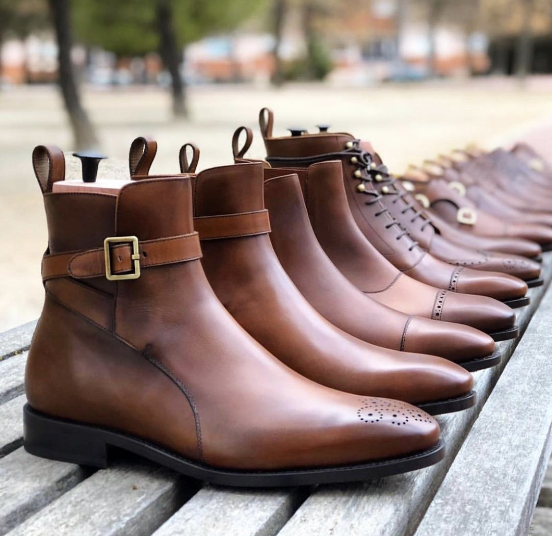 Designing Ankle length Brown Custom Leather Groomsmen Shoes